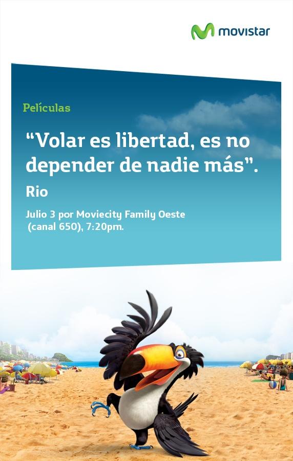 """""""Volar es libertad, es no depender de nadie más"""" Río: hoy a las 7:20 PM canal 650 de Movistar TV"""
