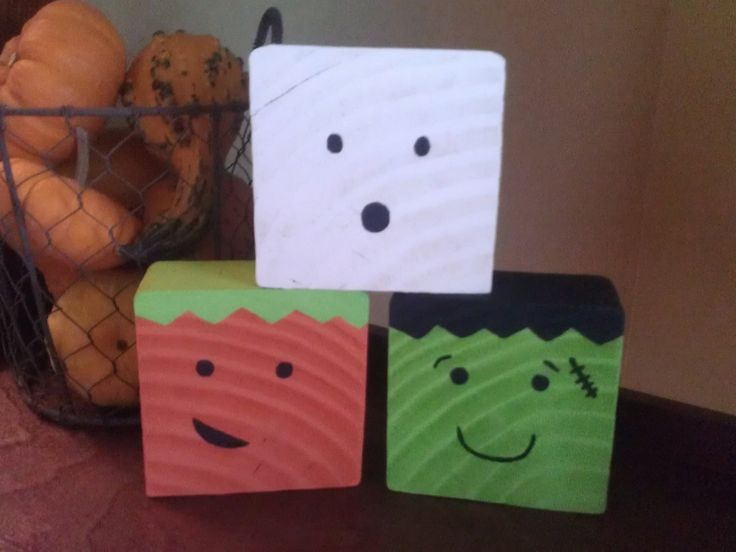 Adorable Wooden Halloween Block Decoration Trio by BeanyAndNoodle, $14 ...