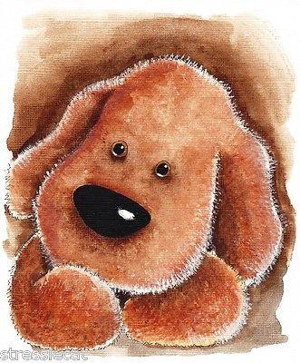 Original Watercolor Painting Folk Art Whimsical Puppy Fluffy Dog Plush Teddy   eBay
