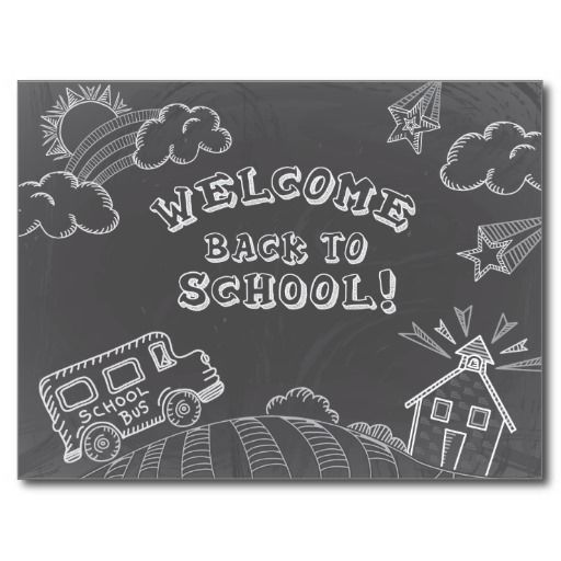 Chalkboard Welcome Back to School Postcard: