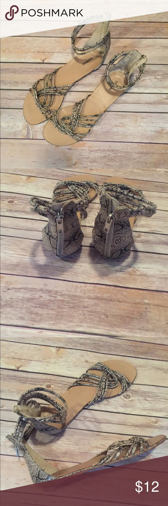 Express Gladiator Sandals SZ 10 Express Gladiator Sandals. Sz 10 Snakeskin Print. Thin Tripple Ankle Strap. Silver Zip Up Back. Super Cute!!! Express Shoes Sandals