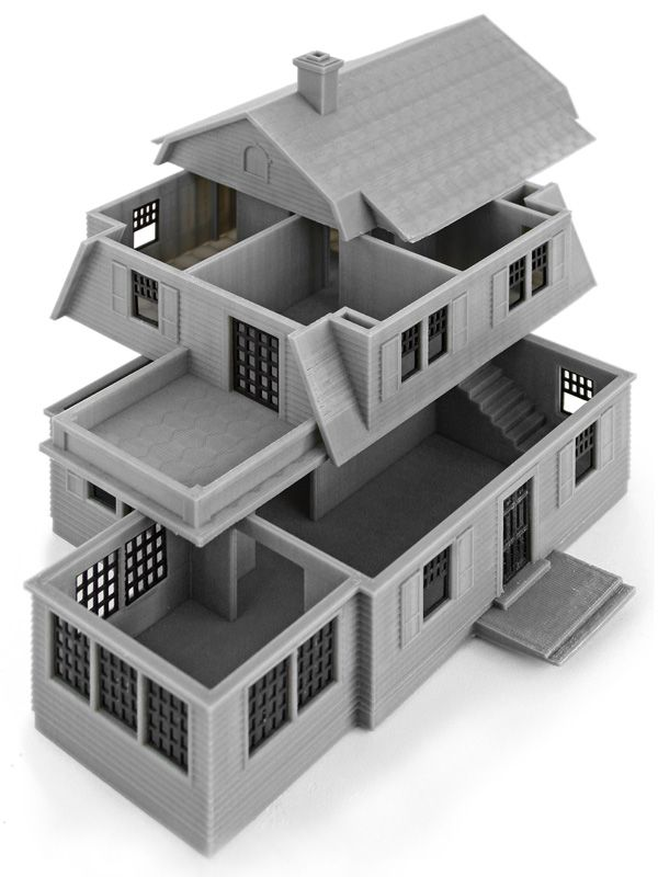 3d Printed architectural model of a 3d storey house