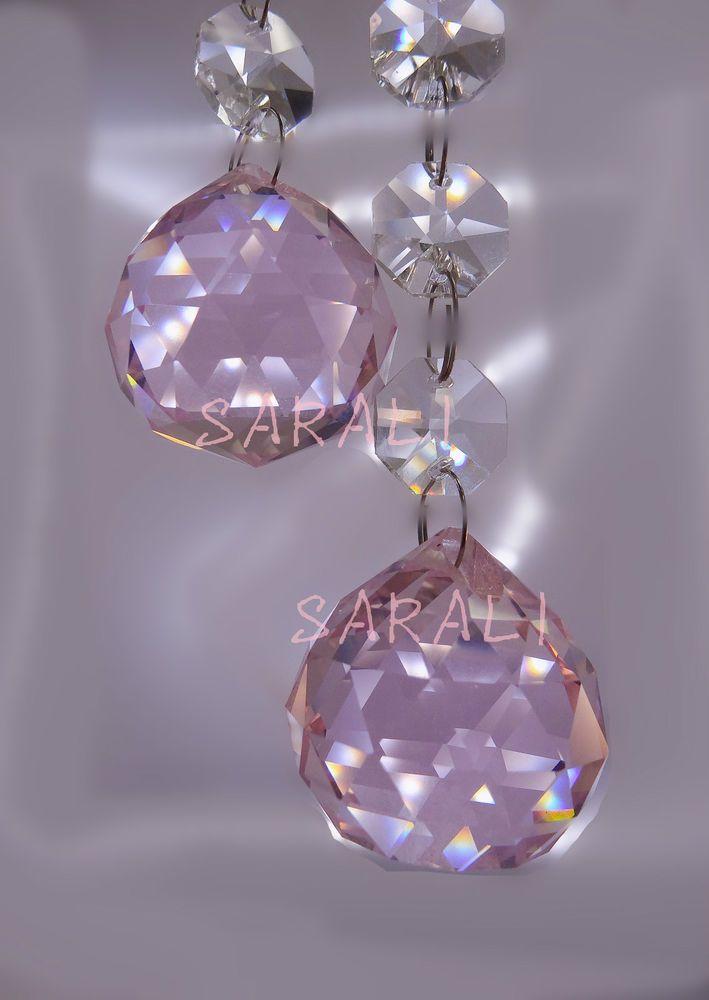 30MM PINK CRYSTAL BALL PRISM ORNAMENT PENDANT WEDDING ...