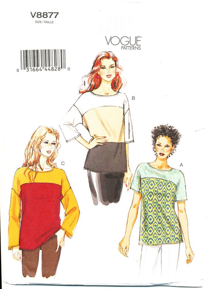 Vogue Sewing Pattern 8877 Misses 16 26 Loose Fitting Pullover Tops