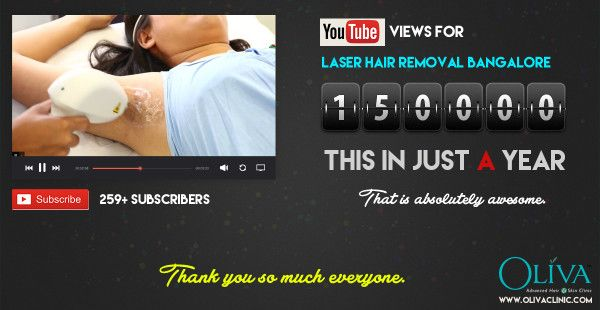 Thanks for an Incredible 1.5 Lac Views for Oliva Clinic Laser Hair Removal Bangalore YouTube Video https://www.olivaclinic.com/blog/laser-hair-removal-bangalore-video-reached-yet-another-milestone/
