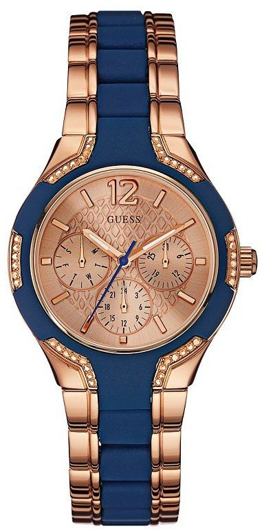 Blue and Rose Gold-Tone Feminine Style Watch by Guess