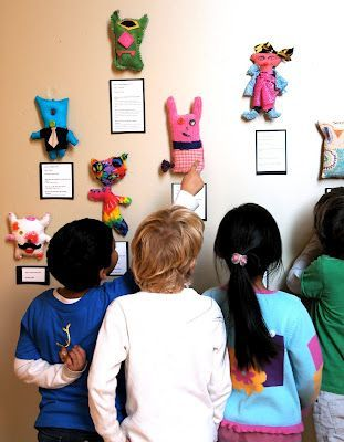 Stuffed with stories | Tweens and adults working together to create stuffed creature and story to display | Art Show Ideas