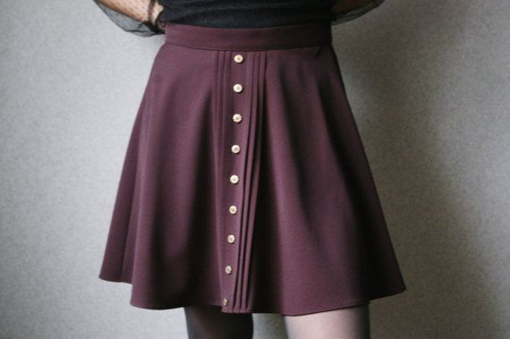 Brown steampunk skirt Gold button skirt by APetersoneClothing
