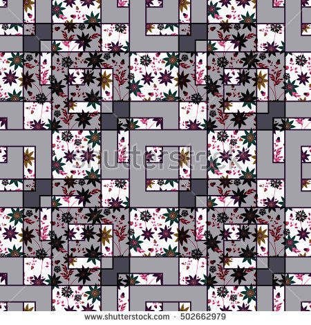 Patchwork abstract seamless floral, pattern texture light background with decorative elements. cute cartoon flowers.