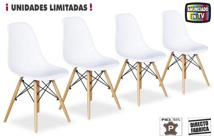 Pack 4 sillas vintage comedor con patas de madera