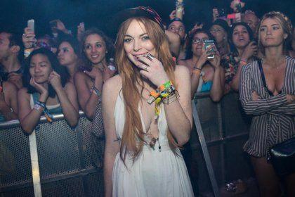Lindsay Lohan at the Coachella Festival
