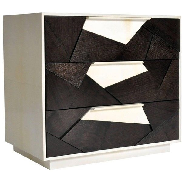 Mosaic Nightstand In Ebonized Walnut And Parchment By Newell Design ($11,280) ❤ liked on Polyvore featuring home, furniture, storage & shelves, nightstands, cabinets, multiple, beige nightstand, low nightstand, low tv cabinet and low media cabinet