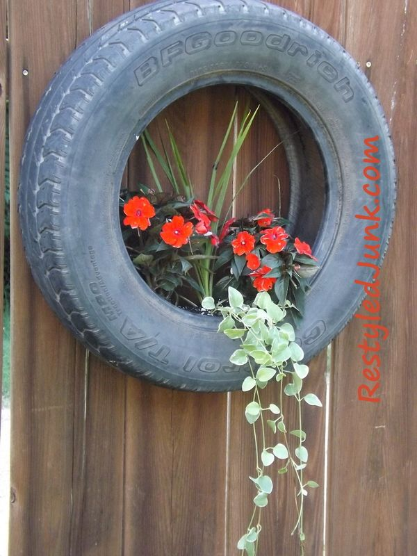 424 best vehicle parts repurposed images on pinterest for Car tire flower planter