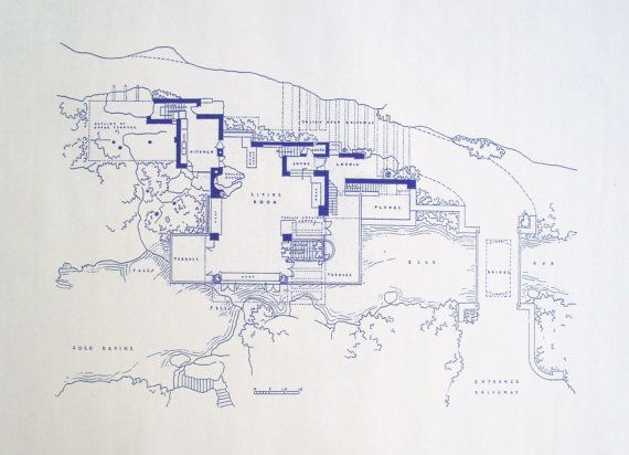 69 best blueprints images on pinterest architectural drawings frank lloyd wright falling water site blueprint by blueprintplace 1899 malvernweather Images