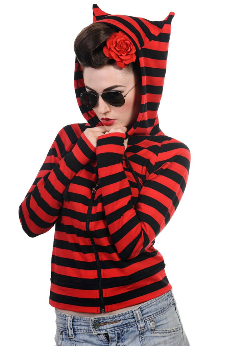 Banned gothic emo punk funky striped cat ears light weight