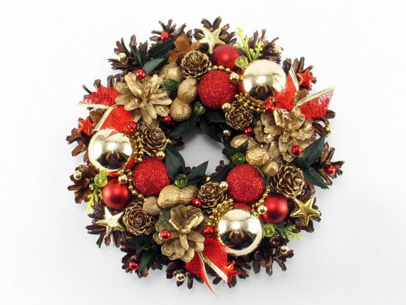 Christmas Wreath, Traditional Wreath, Handmade Wreath, Ornament Wreath, Pinecone Wreath, Candle decoration, Holiday Wreath,  Winter Wreath