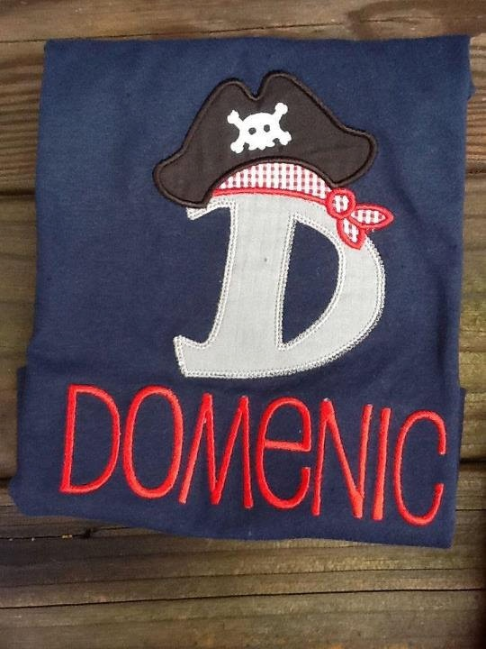 Pirate Alpha Personalized appliqued shirt or by rufflesandbowties, $20.00