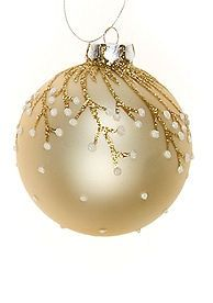 spray paint ornament gold, use bronze glitter glue for branches, mini stones for snowflakes. DIY project
