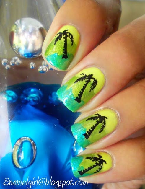 neon green w/palm trees