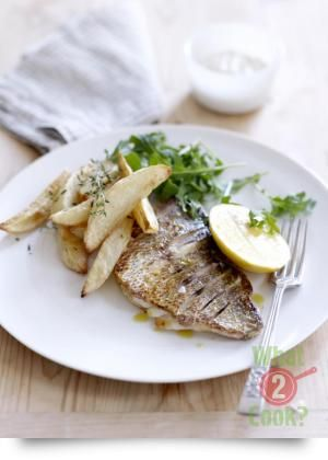 Pan-seared Fish with Healthy Red Delight Potato Chips, and Birch & Waite Lime & Chilli Mayonnaise | What2Cook