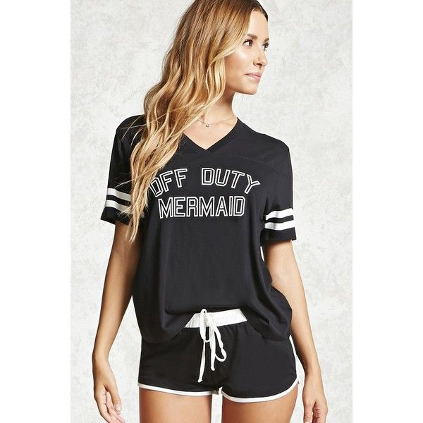 Forever21 Off Duty Mermaid Graphic PJ Set ($10) ❤ liked on Polyvore featuring intimates, sleepwear, pajamas, forever 21 pjs, short sleeve pajamas, forever 21, forever 21 sleepwear and short sleeve pajama set