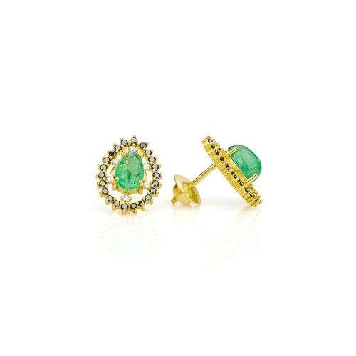 Brinco em Ouro 18k Gota com Esmeraldas e Diamantes Negros br21310 - joiasgold