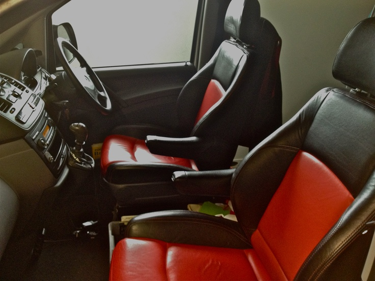 Customised leather interior of one of our fleet