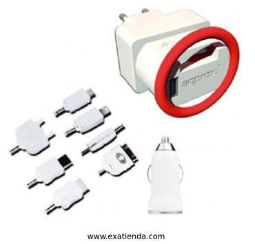 Ya disponible Cargador Approx telefono kit universal 3 en 1 con 7 clavij  (por sólo 17.89 € IVA incluído):   - Cargador USB para teléfonos móviles, Samrtphones y iPhone, fácil de usar e ideal para viajar.  - Especificaciones técnicas Color: Blanco Material: Plástico 5V 1A. Compatible con tablet's, ebooks, psp, ipad... 4 en 1: incluye cable USB cargador para: PC/portátil, cargador USB para coche y cargador USB de pared con soporte integrado Incluye 7 clavijas de carg