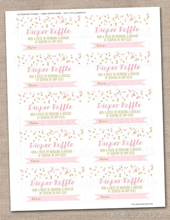 Pink & Gold Confetti Instant Download Diaper Raffle Ticket ...