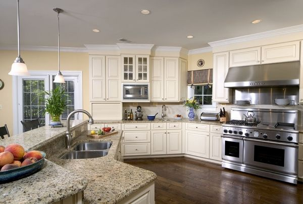 white kitchen cabinets stainless appliances santa cecilia light granite countertops white kitchen 28929