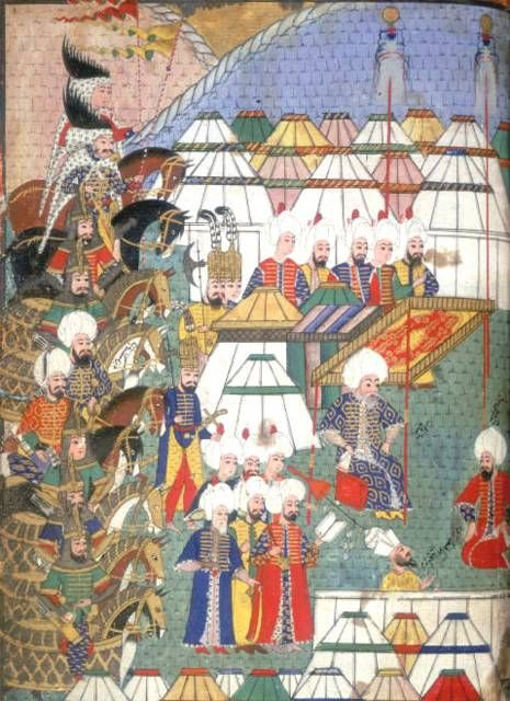 Illustrations from the Nusretname showing Ottoman soldiers  An account of the Turkish conquest of Georgia in 1578 by Gelibolulu Mustafa Ali, 1582. Lala Mustafa Pasha in camp after his Victory at Kars, 1578