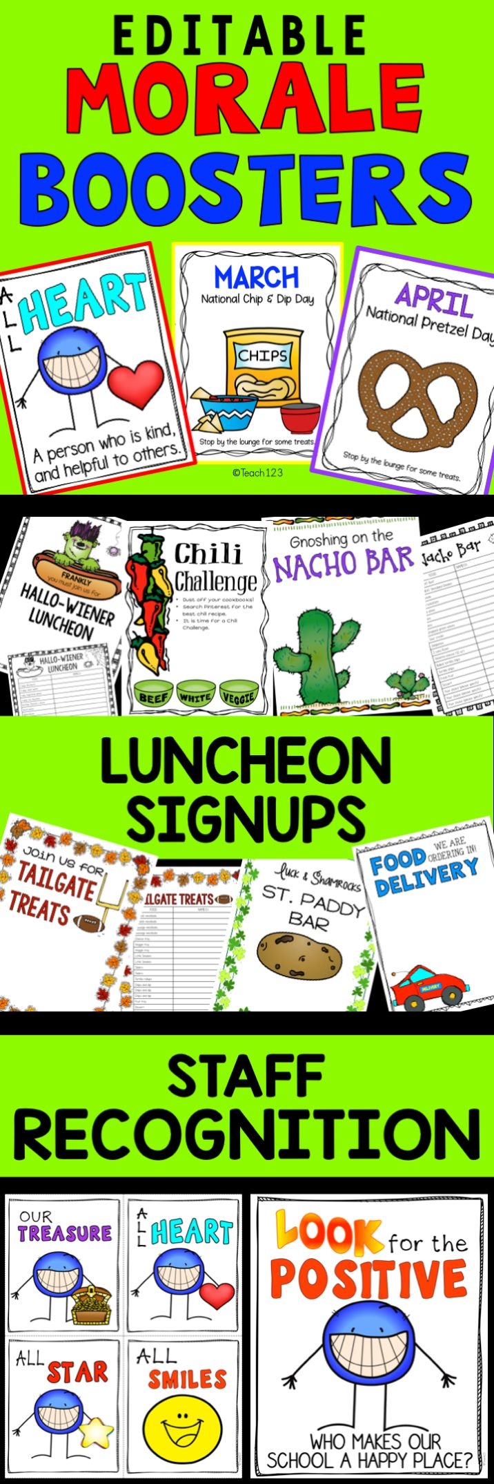 Great staff morale boosters - luncheon (EDITABLE signs, signups, organization tips), Monthly themed snack (EDITABLE signs), staff recognition system, happy notes, and ideas / activities for making your school a happy place. paid