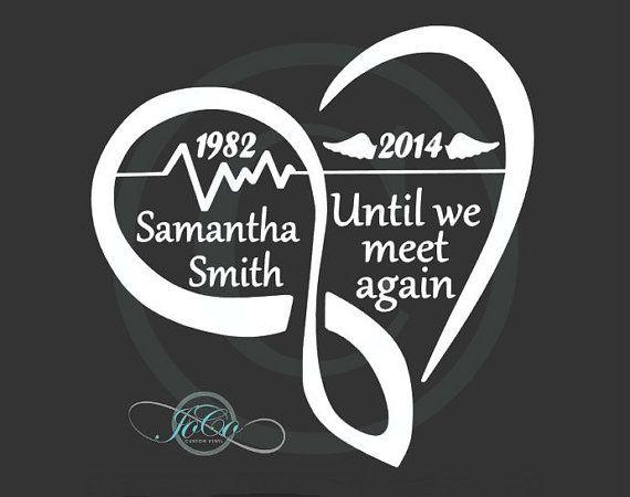 In Loving Memory Of Memorial Vinyl Car Decal - Personalized Infinity Heart Decal…