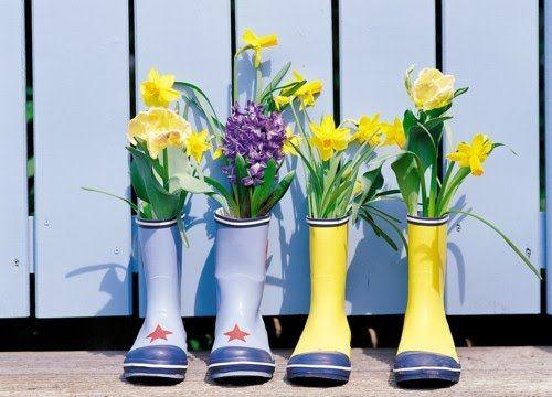 Botas de agua recicladas como macetas, DIY: Recycled gumboots flowers, gumboots recycled, hand made, hecho a mano, Ideas decorativas con material reciclado, Ideas para reciclas botas de agua