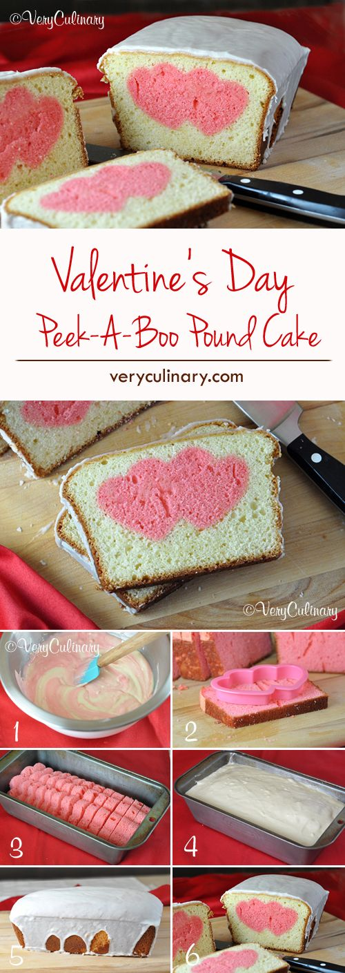Valentine's Day Peek-A-Boo Pound Cake - Super cute! It might look tricky, but it's actually super easy because it uses boxed pound cake mixes.