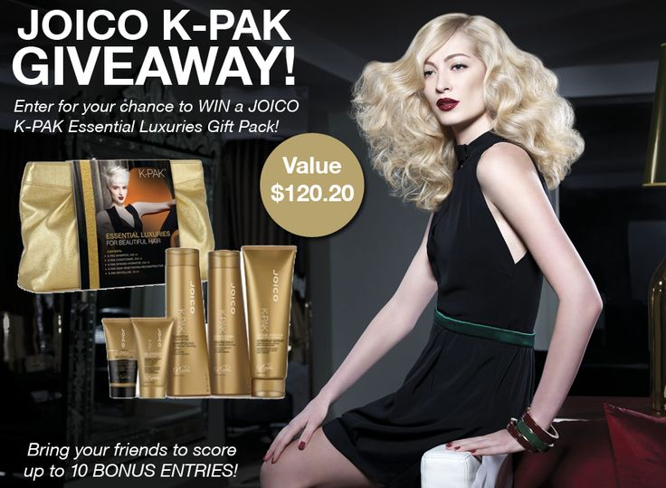 """Enter to WIN our JOICO K-PAK Essential Luxuries Pack GIVEAWAY! You could WIN the following: K-PAK Shampoo 300ml, K-PAK Conditioner 300ml, K-PAK Intense Hydrator 250ml, K-PAK Deep-Penetrating Reconstructor 50ml, K-PAK Revitaluxe 50ml and beautiful JOICO Travel Bag with a total value of $120.20! Don't forget to click on the """"Bring your Friends"""" tab once you've entered to score up to 10 BONUS ENTRIES! ENTER NOW: http://gvwy.io/6x58t3"""