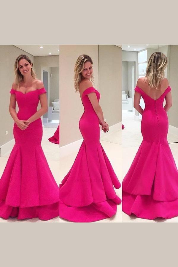196fbc4f3e3 Off Shoulder Hot Pink Soft Satin Long Mermaid Elegant Formal Prom ...