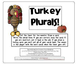 Turkey Plurals -- Freebie
