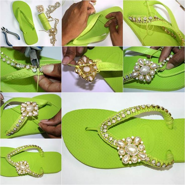 """<input class=""""jpibfi"""" type=""""hidden"""" >Here is a great summer DIY project to refashion a pair of basic flip flops with a little bit of embellishment. It's so nice that these inexpensive items, flip flops and ornaments, such as beads and cords,can be turned into…"""