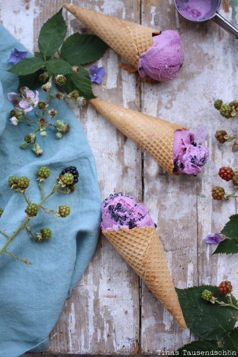Brombeer Creme Fraiche Eis (ohne Ei)