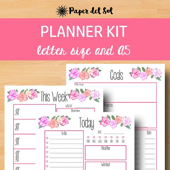 2017 Planner Printable, A5 Daily Planner Pages, Weekly