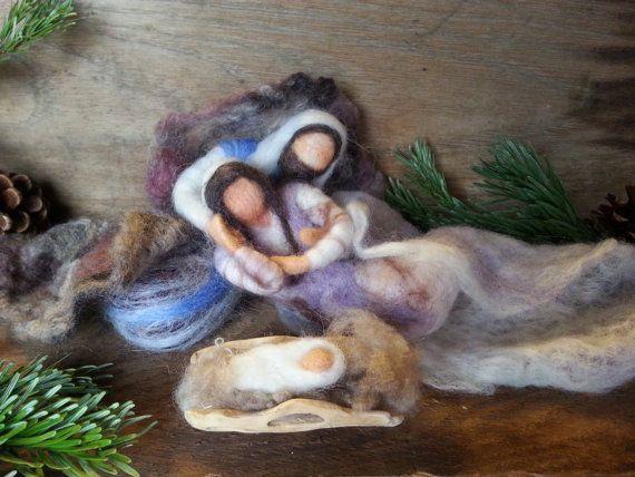 Aguja única Natividad de fieltro con Cactus por SpiritoftheMountain