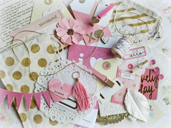 Gift Wrap Kit / Pink and Gold Gift Bags / Gift by MyScrapCabinShop