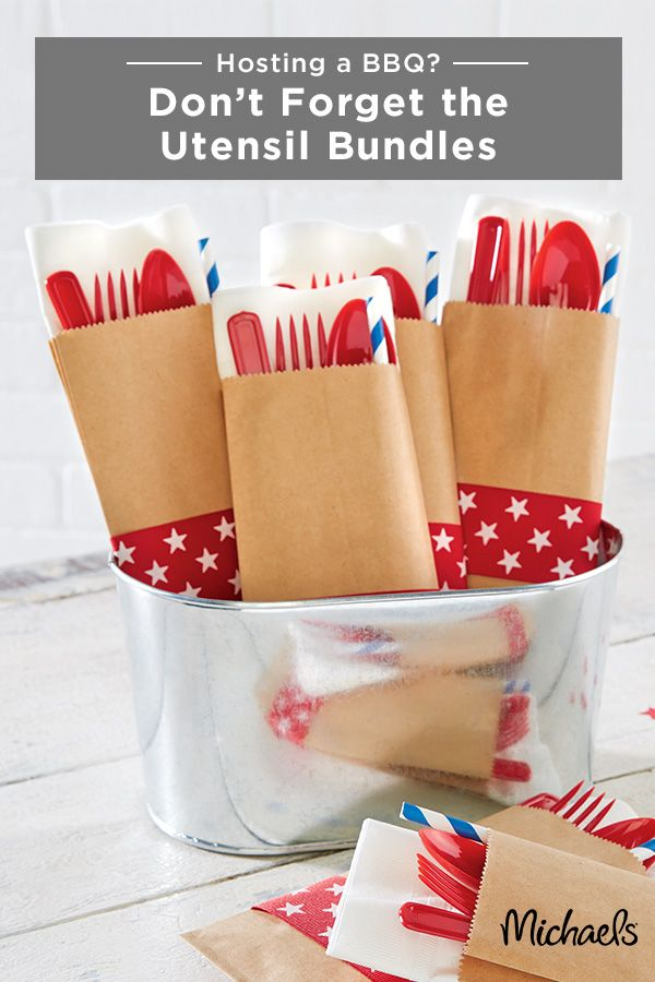 These DIY silverware bundles are essential for a patriotic barbeque or picnic and can be created easily! First, tuck plastic silverware and straw into the closed paper sack. Then measure enough ribbon to go around the stuffed sack. Cut the ribbon to size and use adhesive tape to finish the wrap. Finally, place the silverware packets into a fun container to match the look of your party. Your guests will be wowed by such attention to detail!