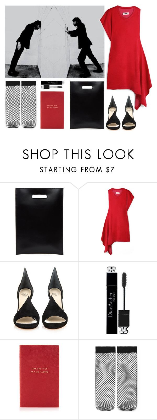"""""""mixed signals and second thoughts."""" by gabrielleleroy ❤ liked on Polyvore featuring MM6 Maison Margiela, Francesco Russo, Christian Dior, Smythson and statementbags"""