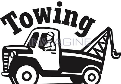 tow truck clip art | Single Images (izs015) > A tow truck with Towing written above ...