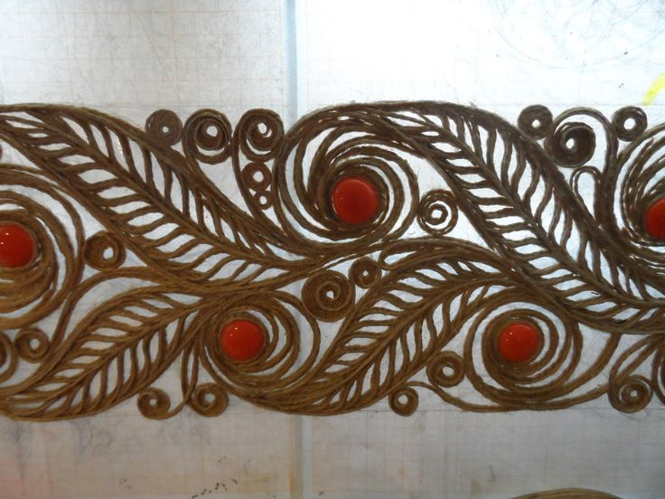 OK.RU, made out of jute with a technique similar to quilling