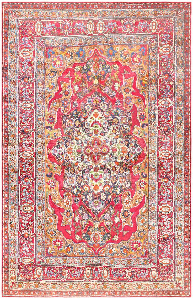 Antique Silk Kerman Persian Rug 47150 Detail Large View