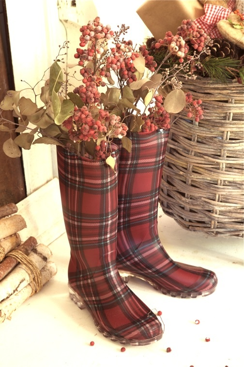 Love these boots especially filled with holly for Christmas. #Christmas #boots