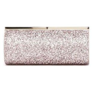 Tube shape 'Trinket' metallic coarse glitter fabric clutch bag featuring a metal frame and a snap closure double clasp from Jimmy Choo. Engraving logo on the closure, one main internal compartment with leather plaque. Bag Measures: L 20 x H 9 x W 7cm Composition: